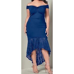 Dresses & Skirts - Off the Shoulder Fit Flare Lace Ruffle Hem Dress